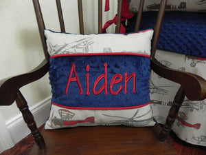 Vintage Airplane with Navy and Red Specialty Pillow