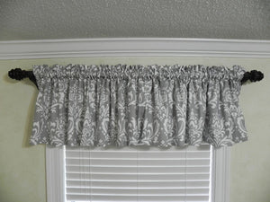 Window Valance - Gray Damask