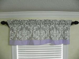 Window Valance - Gray Damask with Lavender