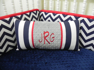 Navy Stripes with Gray and Red Specialty Pillow