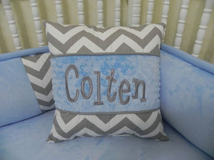 Gray Chevron with Gray and Light Blue Specialty Pillow