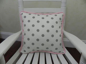 Gray Dots with Light Pink Accent Pillow