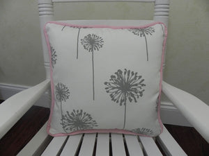 Gray Dandelion with Light Pink Accent Pillow