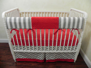 Gender Neutral Crib Bedding Set Richard- Gender Neutral, Boy Baby Bedding in Gray and Red