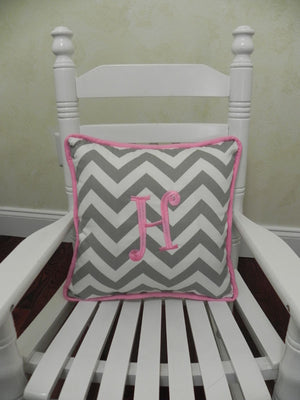 Gray Chevron with Medium Pink  Accent Pillow