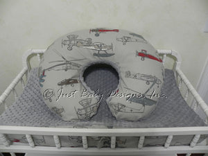 Airplane and Gray Minky Dot Nursing Pillow Cover