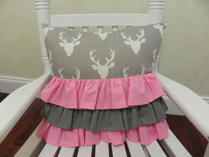 Gray Buck with Medium Pink Ruffled Specialty Pillow