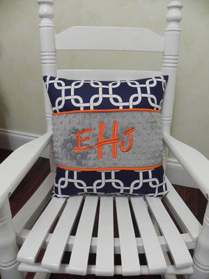 Navy Squares with Gray and Orange Specialty Pillow