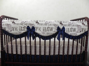 Gender Neutral Ivory and Navy Cowboy Crib Bedding Set Miley - Gender Neutral Crib Bedding, Girl Crib Bedding, Crib Rail Cover Set
