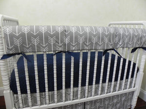 Gray Arrow Baby Bedding Set - Gray Arrows with Navy Blue, Boy Crib Bedding, Crib Rail Cover Set