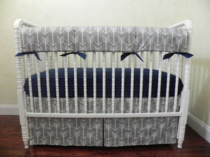 Gray Arrow Baby Bedding Set - Gray Arrows with Navy, Boy Crib Bedding, Crib Rail Cover Set