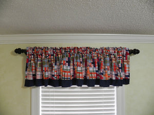 Window Valance - Coastal Multi Plaid with Navy