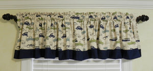 Window Valance - Vintage Cars and Trucks with Navy