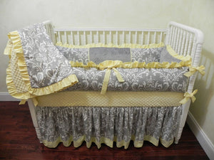 Yellow and Gray Girl Crib Bedding Set Lizzie - Girl Baby Bedding, Crib Bumpers