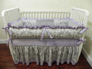 Lavender and Gray Girl Crib Bedding Set Bethany - Girl Baby Bedding, Crib Bumpers