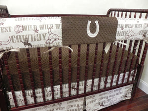 Cowboy Baby Bedding Set Stetson - Western Crib Bedding, Boy Baby Bedding, Crib Rail Cover with Horseshoe