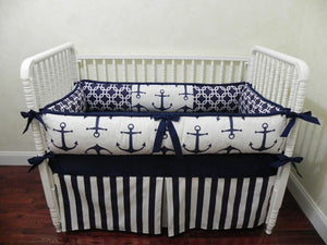 Nautical Crib Bedding Set Harbor - Boy Baby Bedding with Navy Anchors and Stripes