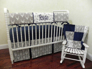 Gray Deer Baby Boy Bedding Set Rowan - Gray Deer with Navy, Boy Crib Bedding, Crib Rail Cover Set