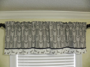 Window Valance- Gray Arrows and Deer with Navy