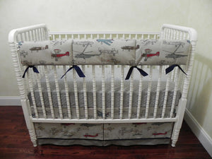 Airplane Crib Bedding Set Evan- Boy Baby Bedding, Vintage Airplane Bedding in Gray and Navy