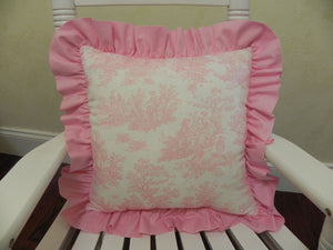 Pink Toile with Light Pink Accent Pillow