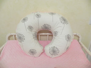 Gray Dandelion and Light Pink Nursing Pillow Cover