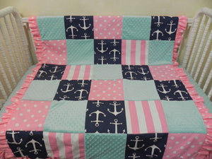 Nautical Girl Crib Bedding Set Andrina, Girl Baby Bedding, Girl Anchor Crib Bedding in Navy, Pink, and Aqua
