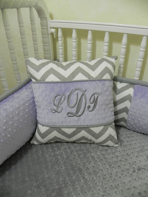 Gray Chevron with Lavender Specialty Pillow