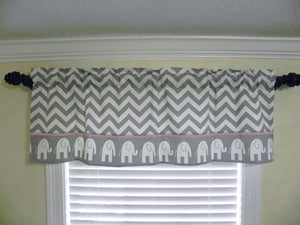 Window Valance- Gray Chevron with Elephants and Light Pink