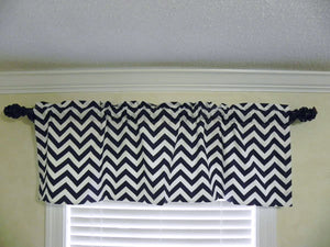 Window Valance -Black Chevron
