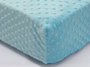 Crib Sheet - Light Turquoise Minky Dot