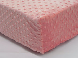 Crib Sheet -  Light Coral Minky Dot