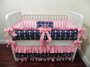 Nautical Girl Baby Crib Bedding Set Tori - Girl Baby Bedding in Navy Anchors and Pink