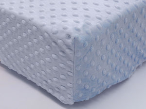 Crib Sheet -Light Blue Minky Dot