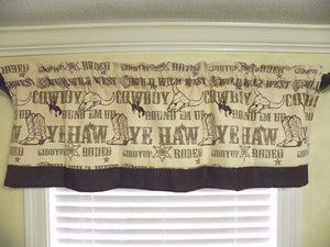 Window Valance - Western Cowboy with Brown