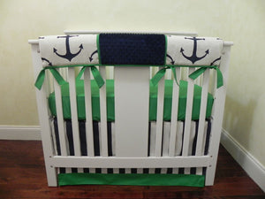 Navy and Kelly Green Nautical Mini Crib Bedding Set - Boy Baby Bedding, Boy Mini Crib Bedding, Anchor Mini Crib Bedding