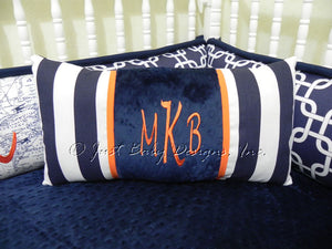 Navy Stripes with Orange Specialty Pillow