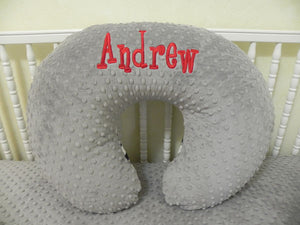 Gray Minky Dot Nursing Pillow Cover