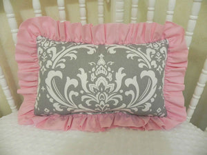 Gray Damask and Light Pink Accent Pillow
