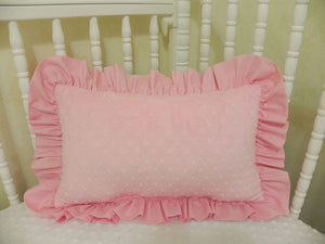 Light Pink Minky Dot with Light Pink Accent Pillow