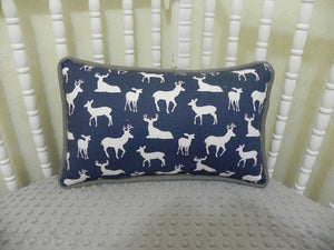 Navy Deer with Gray Accent Pillow