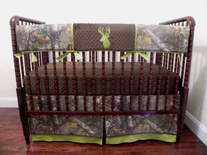 Camo with Olive Green Crib Bedding Set Ryker- Boy Baby Bedding, Camo Baby Bedding, Deer Crib Bedding
