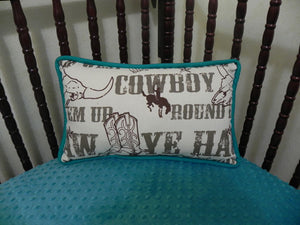 Cowboy with Teal Accent Pillow