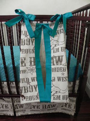 Western Cowboy Bedding Set Cody- Boy Baby Bedding, Crib Bumpers, Cowboy Rodeo Bedding in Brown and Teal