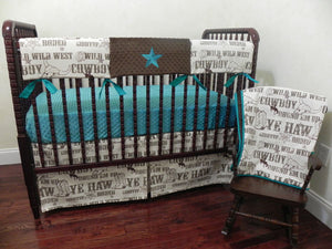 Cowboy Baby Bedding Set Brett - Western Crib Bedding in Brown and Teal, Boy Baby Bedding, Crib Rail Cover