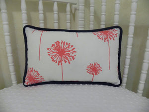 Coral Dandelion with Navy Accent Pillow