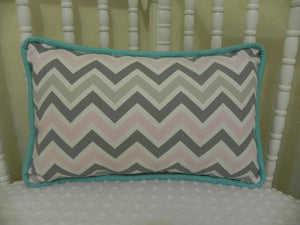 Pink and Gray Chevron with Light Turquoise  Accent Pillow