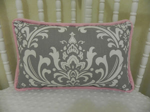 Gray Damask with Light Pink Accent Pillow