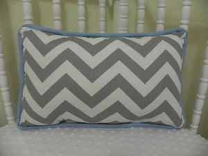 Gray Chevron with Light Blue Accent Pillow