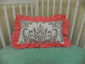 Gray Damask with Coral Accent Pillow